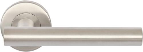 Deurkruk set RVS strak 9014 rozet rond