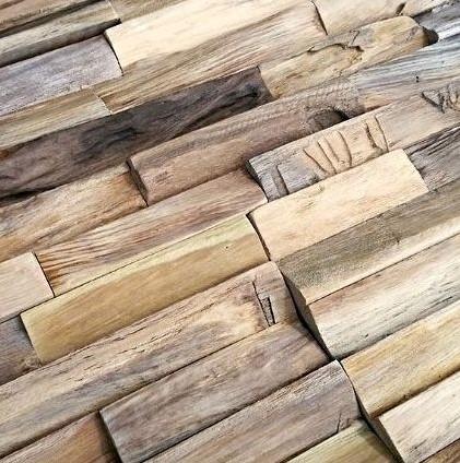 Wandpaneel 3D houtstrips mix hardhout