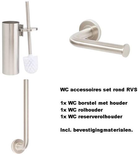 WC accessoires set rvs rond