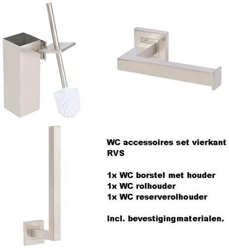 WC accessoires set rvs vierkant
