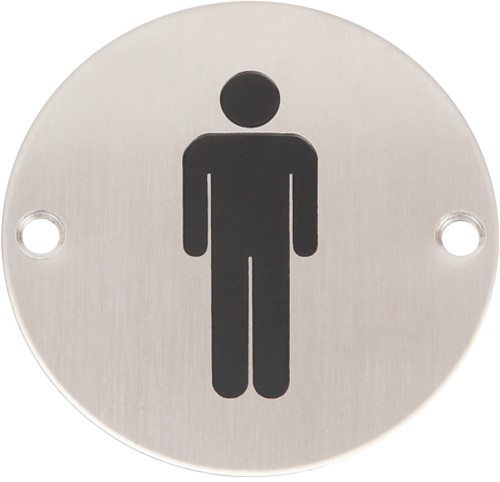 Wc pictogram mannen RVS rond