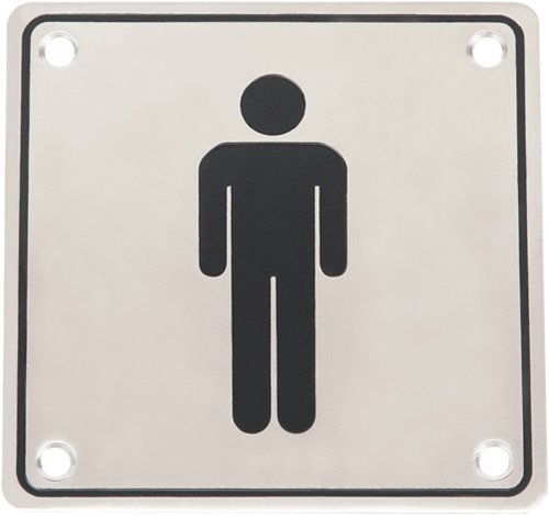 Wc pictogram mannen RVS vierkant