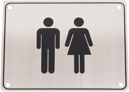 Wc pictogram mannen & vrouwen RVS vierkant